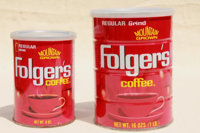 Vintage Coffee Cans Folger S Metal Tins W Plastic Lids Advertising Can Lot