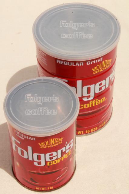 Vintage Coffee Cans Folger S Metal Tins W Plastic Lids