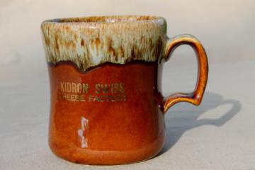 vintage coffee mug marked for the Kidron Swiss Cheese factory (Ohio)