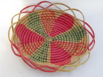 vintage coiled basketry sewing basket, Indian souvenir from Mexico