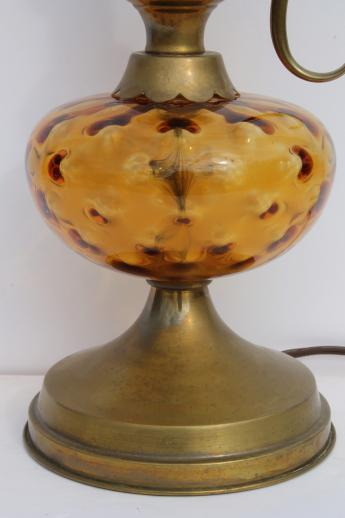 vintage coin dot amber glass lamp w/ brass ewer handle lamp base, colonial style