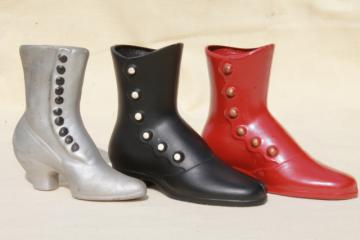 vintage collection of antique shoe vases, high button shoes ladies boots