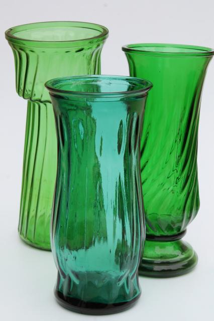 Vintage Collection Of Swirl Glass Flower Vases In Greens Teal