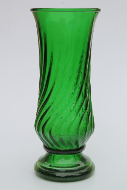 Vintage Collection Of Swirl Glass Flower Vases In Greens