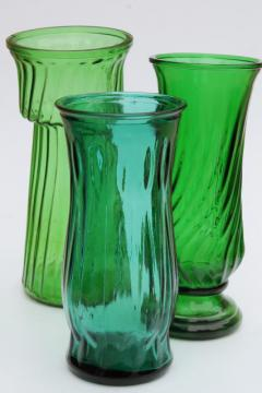 vintage collection of swirl glass flower vases in greens, teal, forest green, lime