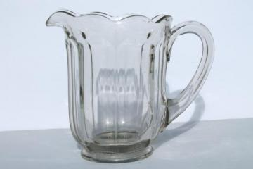 vintage colonial panel pattern glass milk jug, heavy old clear glass pitcher