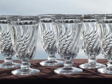 vintage colony Fostoria glass footed iced tea glasses, set of 6
