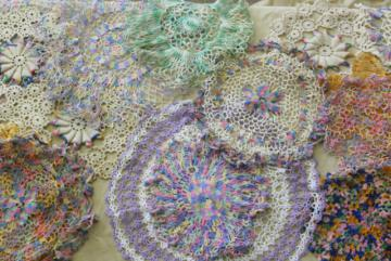 vintage colored cotton crochet doilies, retro candy colors lace doily lot