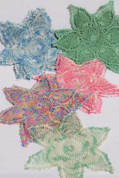 vintage colored cotton crochet lace doilies, large lot crocheted star flower motifs