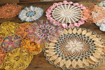 vintage colored cotton crocheted doilies, hippie bohemian crochet lace doily lot