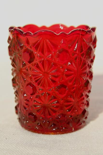 vintage colored glass match & toothpick holders - mini vases or candle holders