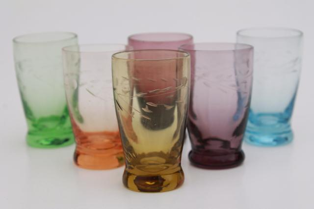 Vintage Colored Glass Shot Glasses Set Bohemian Etched