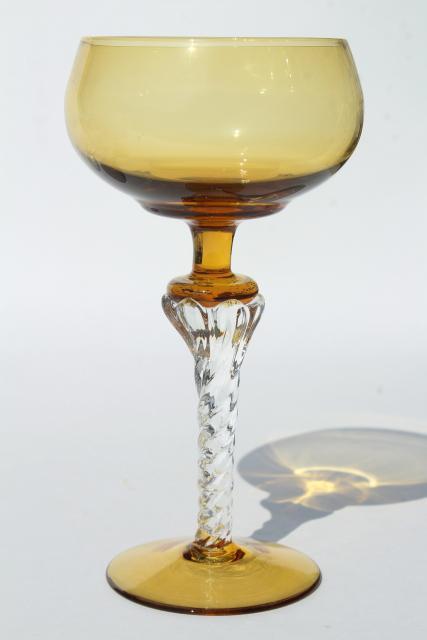 Vintage Colored Glass Twist Stem Crystal Hock Wine Glasses