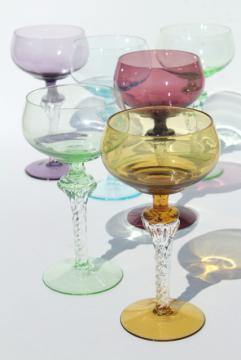 vintage colored glass twist stem crystal hock wine glasses or cocktail glasses