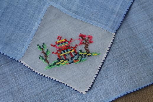 vintage colored linen tea napkins, petit point embroidery on fine handkerchief linen