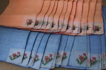 vintage colored linen tea napkins, petit point embroidery on fine handkerchief linen