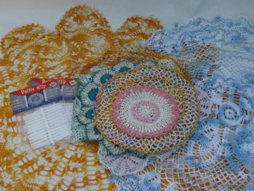 vintage colored thread crocheted doilies, old crochet lace doily lot