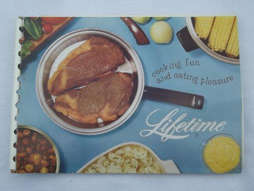 vintage cookbook w/ catalog Lifetime stainless cookware, pots and pans