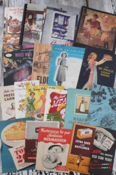 vintage cookbooks lot, old recipe booklets & leaflets w/ retro grocery advertising