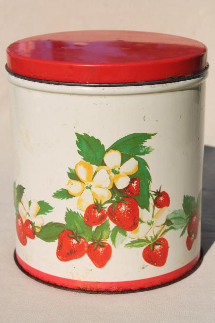 Vintage Cookie Jar Tin Red Strawberry Print Metal Kitchen