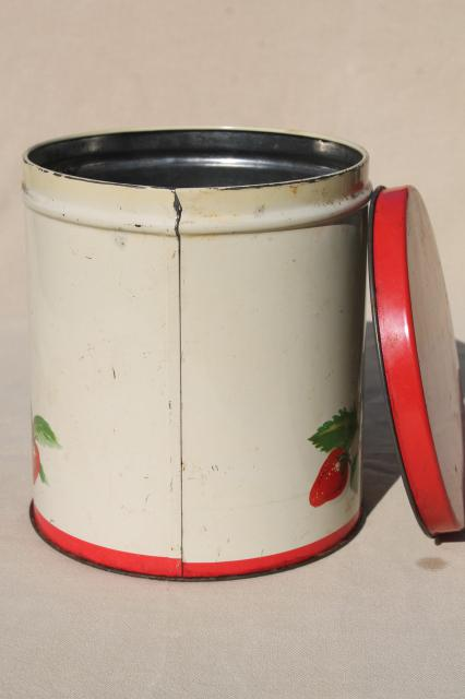 vintage cookie jar tin, red strawberry print metal kitchen counter canister