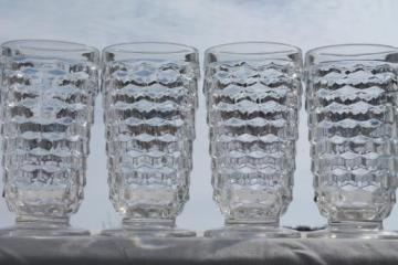 vintage cooler glasses, Whitehall cube pattern crystal clear glass footed tumblers