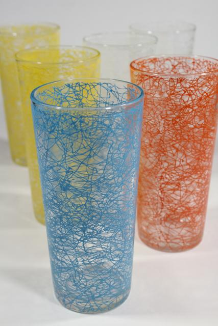 vintage coolers w/ squiggle string in retro colors, big tall heavy glass drinking glasses