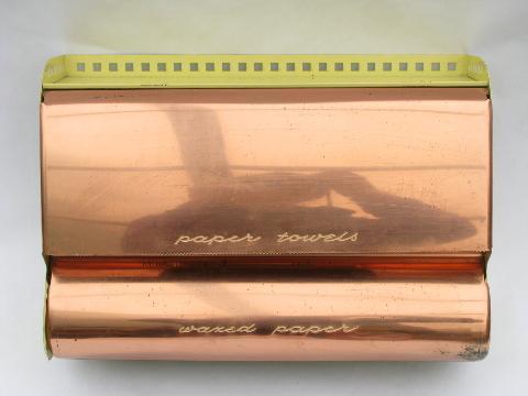 Vintage Copper BeautyWare Kitchen Paper Towel / Wax Paper Dispenser
