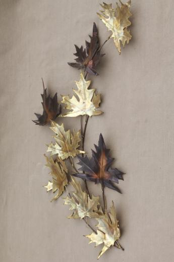 Vintage Metal Wall Art copper & brass metal wall art for fall, autumn leaves & wheat sheaf