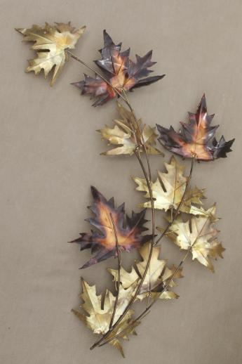 Vintage Copper U0026 Brass Metal Wall Art For Fall, Autumn Leaves U0026 Wheat Sheaf