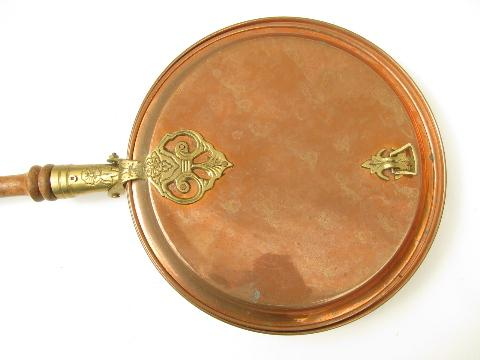 vintage copper and brass bed warmer, warming pan w/ long wood handle