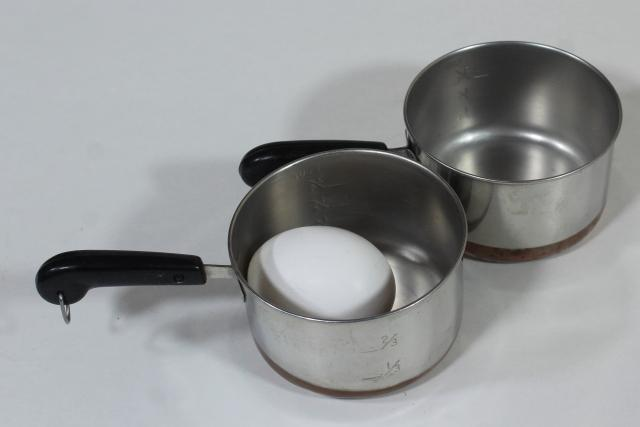vintage copper bottom Revere Ware sauce pans, tiny one cup toy kitchen size working cookware