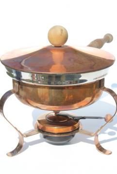 vintage copper chafing dish, large pan w/ burner warmer, buffet server or fondue pot