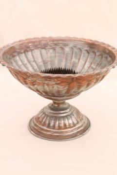 vintage copper flower bowl, rustic silver wash pedestal centerpiece for fall harvest decor