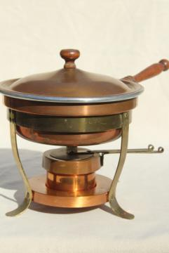 vintage copper fondue pot or chafing dish w/ stand & warmer sterno burner