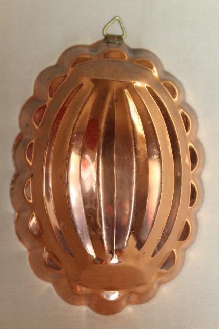 vintage copper food molds, jello or aspic mold set decorative farmhouse kitchen wall art