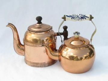 vintage copper kitchen tea kettles, teapot lot of two
