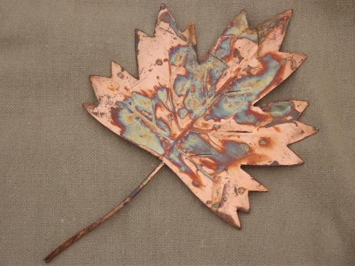 Vintage copper metal art sculpture autumn leaf leaves for Metal leaf wall art