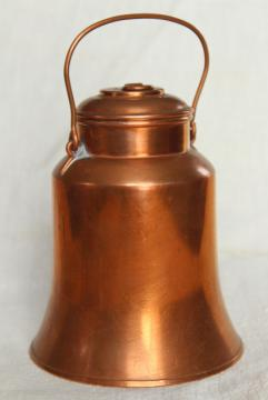 vintage copper milk can, cream pail covered lunch bucket or kettle w/ lid