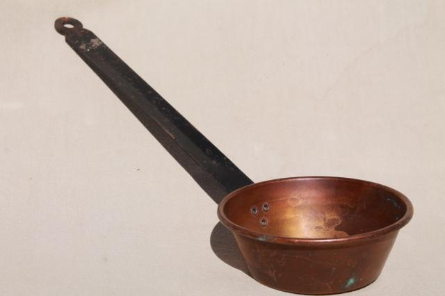 Vintage Copper Pans Dipper Skimmer Spoon W Wrought Iron