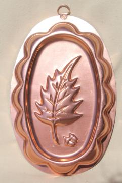 vintage copper pink aluminum jello mold, autumn oak leaf & acorn for Thanksgiving