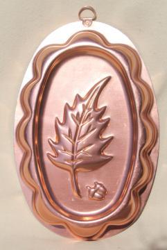 vintage copper pink aluminum jello mold, autumn oak leaf & acorn for Thanksgiving