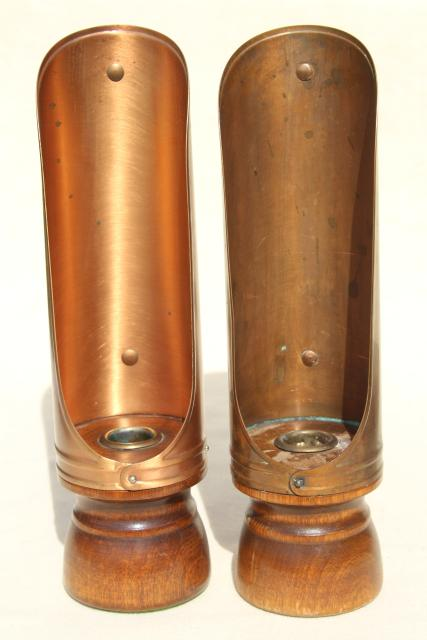 vintage copper reflector candle holders, lantern wind screen candlesticks w/ handles