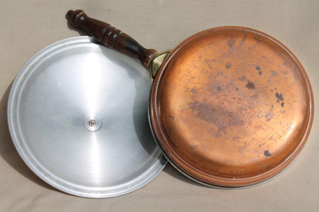 vintage copper serving tray & chafing dish set, warming stand w/ bain marie water bath