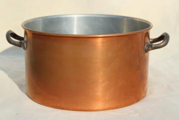 vintage copper stockpot w/ brass handles, big deep soup pot 3 qt size