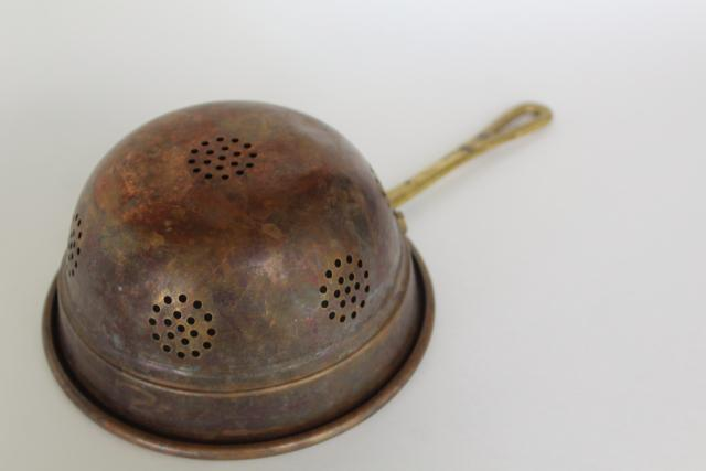 vintage copper strainer basket w/ brass handle, kitchen colander bowl scoop