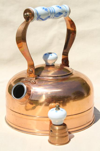 vintage copper tea kettle, whistling teakettle w/ blue & white china handle