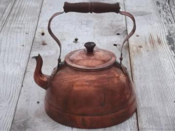 vintage copper tea kettle with wood handle, made in Portugal