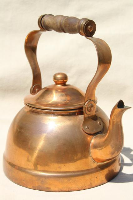 vintage copper teakettle, tea kettle w/ wood handle, Portugal copper kitchen ware