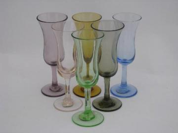 vintage cordial glasses set, tiny colored glass goblets, Japan labels